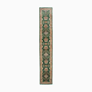 Green Turkish Hand Knotted Wool Runner Oushak Carpet