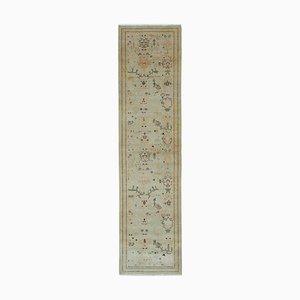 Beige Anatolian Hand Knotted Wool Runner Oushak Carpet