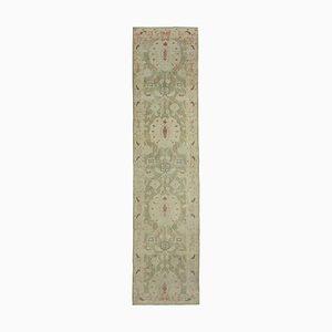 Beige Anatolian Handmade Wool Runner Oushak Carpet