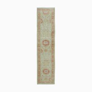 Beige Turkish Hand Knotted Wool Runner Oushak Carpet