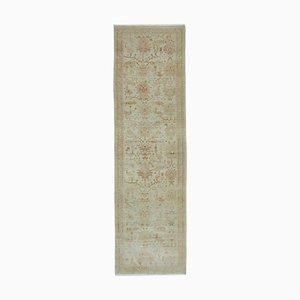 Beige Oriental Hand Knotted Wool Runner Oushak Carpet