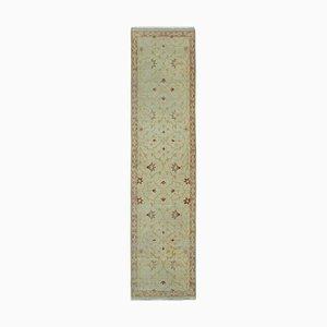 Beige Decorative Handmade Wool Runner Oushak Carpet
