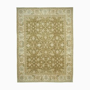 Beige Anatolian Handmade Wool Large Oushak Carpet