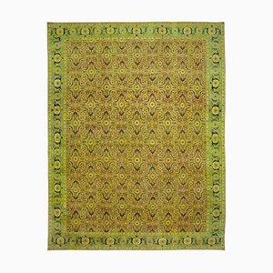 Green Antique Hand Knotted Wool Large Oushak Carpet