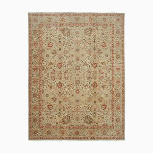 Beige Oriental Hand Knotted Wool Large Oushak Carpet