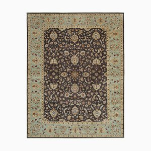 Brown Traditional Hand Knotted Wool Large Oushak Carpet