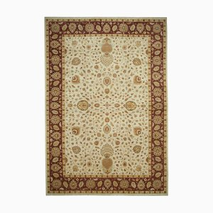 Beigefarbener anatolischer Handgeknüpfter Ouschak Teppich aus Wolle