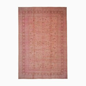 Pink Oriental Handwoven Antique Large Oushak Carpet