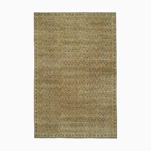 Beige Antique Hand Knotted Wool Large Oushak Carpet
