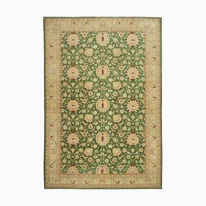 Grüner Orientalischer Handgeknüpfter Wusch Teppich aus Wolle