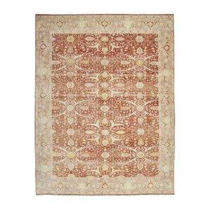 Red Turkish Handwoven Antique Large Oushak Carpet