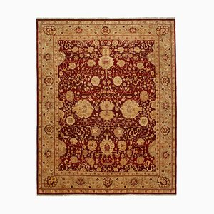 Red Traditional Hand Knotted Wool Large Oushak Carpet