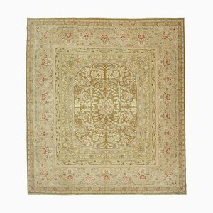 Beige Traditional Handmade Wool Large Oushak Carpet