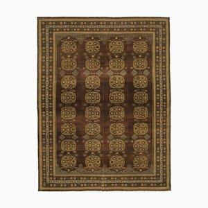 Brown Turkish Hand Knotted Wool Large Oushak Carpet