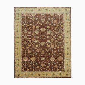 Brown Antique Handmade Wool Large Oushak Carpet