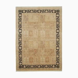 Beige Antique Handmade Wool Large Oushak Carpet