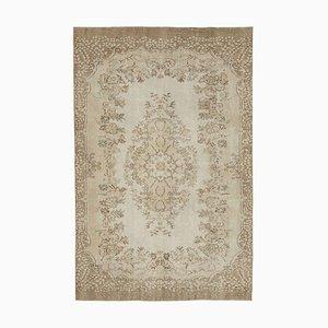 Beige Türkischer Handgeknüpfter Vintage Teppich