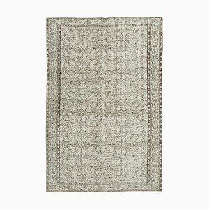 Beige Oriental Wool Hand Knotted Vintage Carpet