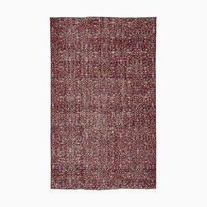 Red Turkish Low Pile Handmade Vintage Carpet