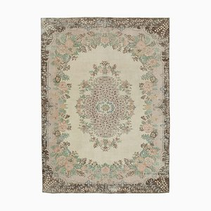 Beige Turkish Antique Handmade Vintage Carpet