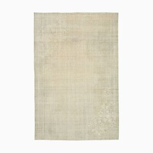 Beige Oriental Traditional Hand Knotted Vintage Carpet