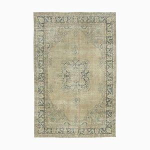Beigefarbener handgeknüpfter orientalischer Vintage Teppich