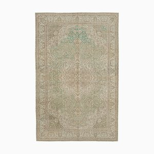 Beige Turkish Low Pile Handmade Vintage Carpet