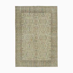 Beige Turkish Traditional Handmade Vintage Carpet