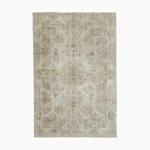 Beige Anatolian Decorative Hand Knotted Vintage Carpet