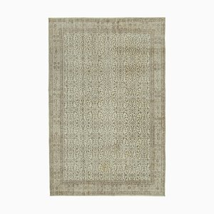 Beige Oriental Contemporary Hand Knotted Vintage Carpet