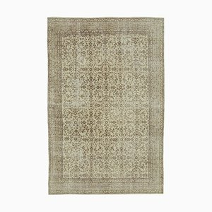 Beige Oriental Decorative Hand Knotted Vintage Carpet