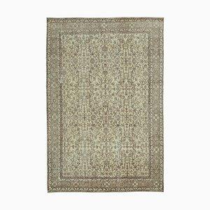 Handgemachter Beiger Türkischer Vintage Teppich aus Wolle
