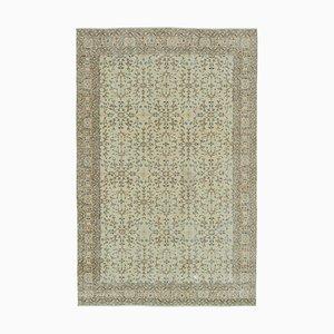 Türkischer Dekorativer Handgeknüpfter Beiger Vintage Teppich