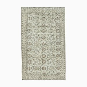 Beige Anatolian Wool Hand Knotted Vintage Carpet