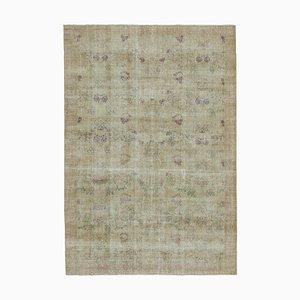 Beige Türkischer Floraler Handgemachter Vintage Teppich