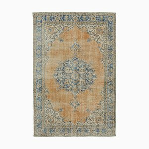 Beige Anatolian Low Pile Hand Knotted Vintage Carpet