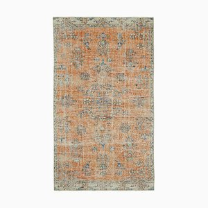 Orange Oriental Wool Hand Knotted Vintage Carpet