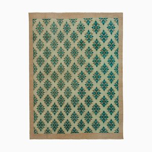 Green Oriental Antique Hand Knotted Vintage Carpet