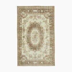 Beige Turkish Wool Handmade Vintage Carpet
