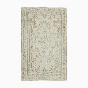 Beige Türkischer Handgeknüpfter Traditioneller Vintage Teppich