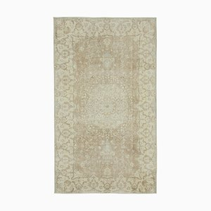 Beige Anatolian  Antique Hand Knotted Vintage Carpet