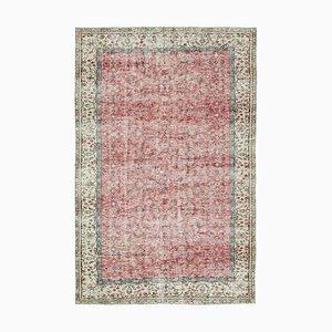 Red Turkish Traditional Handmade Vintage Carpet