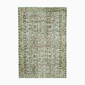 Green Anatolian  Antique Hand Knotted Vintage Carpet