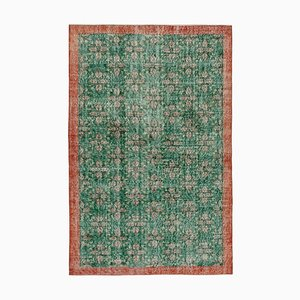 Green Anatolian Traditional Hand Knotted Vintage Carpet