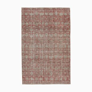 Red Anatolian Traditional Hand Knotted Vintage Carpet