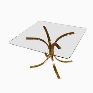Tavolo vintage in ottone con piatto in vetro fumé