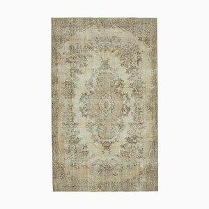 Beige Anatolian Antique Hand Knotted Vintage Carpet