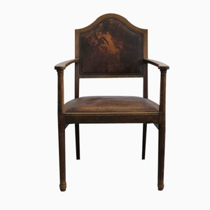 Vintage Art Nouveau Leather Armchair