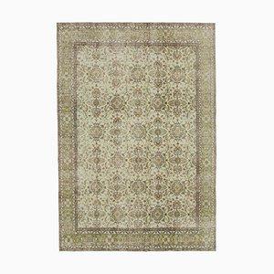 Beige Oriental Low Pile Hand Knotted Vintage Carpet