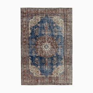 Blue Anatolian Decorative Hand Knotted Vintage Carpet